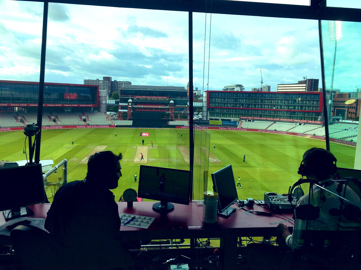 View from the TMS box at Emirates Old Trafford for the 1st T20 international.   @AatifNawaz & @philtufnell opening the batting for us.   We've got @henrymoeranBBC, @isaguha & a certain @jimmy9 coming in later.   #bbccricket #ENGvPAK https://t.co/xohHvs2b1H