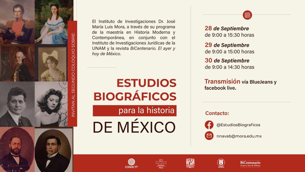 ¡Comenzamos mañana! Únete a la transmisión del II #Coloquio sobre estudios #biográficos para la historia de México.  Del 28 al 30 de septiembre de 9:00-15:00 hrs. https://t.co/YSLFxRTyHc @IIJUNAM https://t.co/T1k4QxP4aq