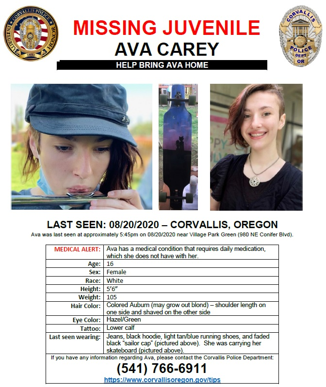 Missing person flyer of Ava Carey