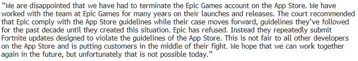 Apple says it has terminated Epic's App Store developer account and they'll no longer be able to submit new apps or updates. https://t.co/AKIQibgxBd