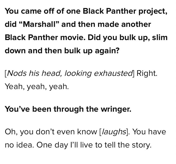 I interviewed Chadwick Boseman in 2017, and to think he was going through cancer while satisfying the physical demands of a Marvel movie... https://t.co/MAB1ZYdcGS https://t.co/eLdear66IU