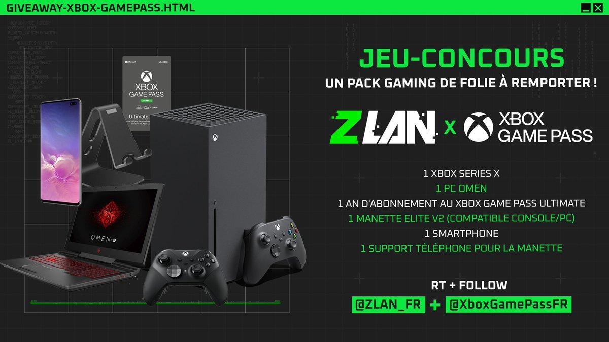 GROS LOT INCOMING !!! Et si c'était l'heure de remporter un pack gaming complet grâce à @XboxGamePassFR ??  C'est facile, follow @ZLAN_FR + @XboxGamePassFR et RT ce tweet pour participer !   #ZLAN2020 https://t.co/WlGdwjWSER