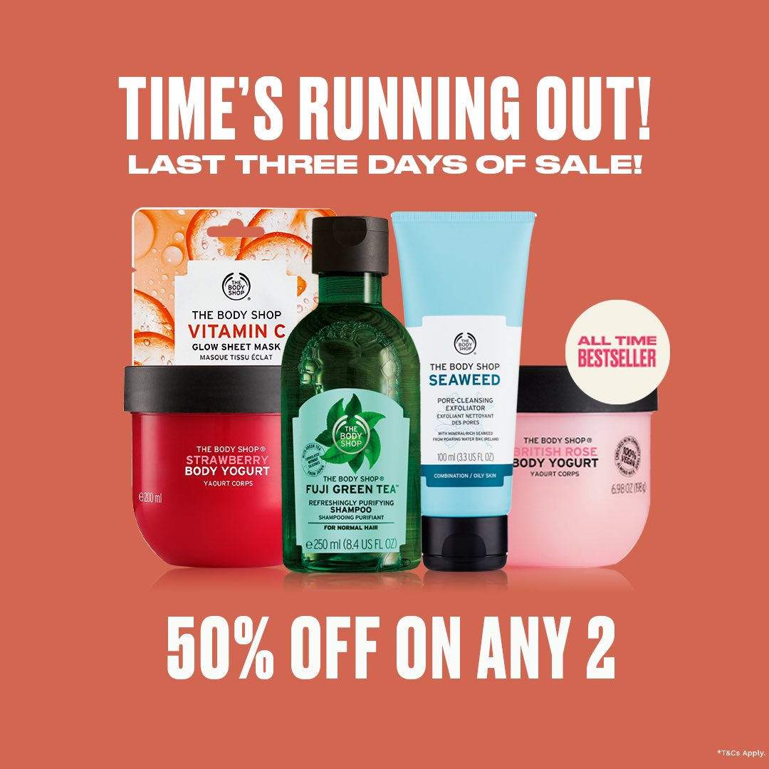 Ready to shop? Last few days to avail an up to 50%* discount! Shop any two favourites to avail the deal. Shop online, in-store or call us at +917042004412 for home delivery. What are you adding to cart?  #TheBodyShopIndia #TBSInd #Discount #Sale #EOSS #Hurry