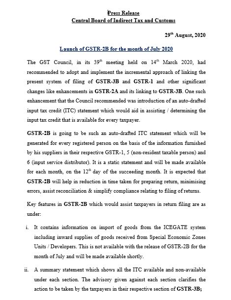 Launch of GSTR-2B for the month of July 2020