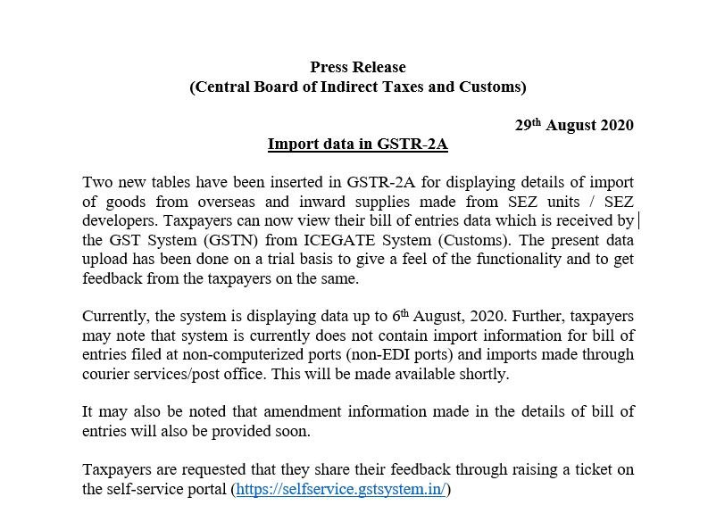 Import data in GSTR-2A