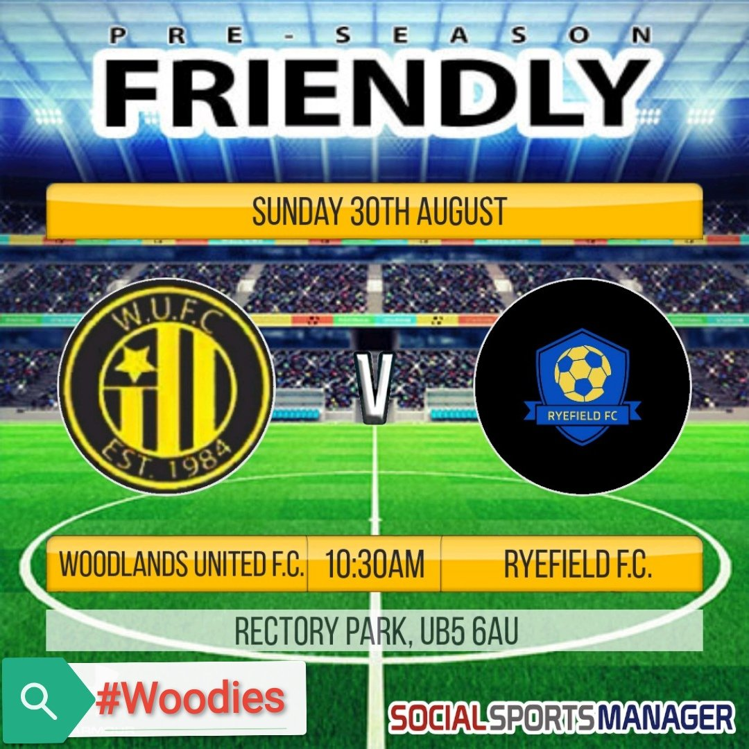 Our next pre-season friendly sees us take on fellow @HarrowSunday team Ryefield F.C. tomorrow at @middxfa @RectoryParkFC UB5 6AU  Kick Off is at 10:30am  #Woodies https://t.co/z9zNPEvXos