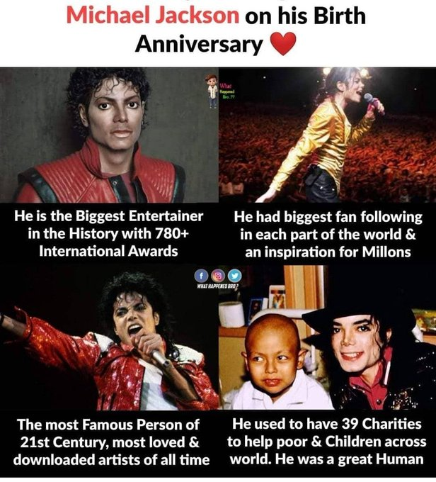 Happy Birthday, Michael Jackson. We re better for you. Thank you for the music and gifts.