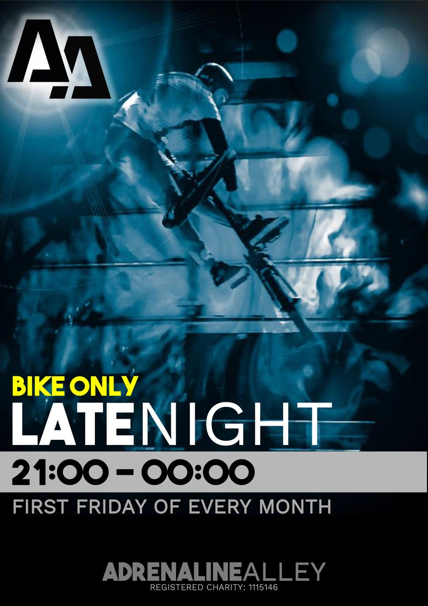 The 1st Friday of every month is our new BIKE ONLY late night session! 🔥BMX and MTB riders… The park is yours to take over and shred till midnight!🔥  Strictly no boards, blades or scooters.  BOOK NOW!  ➡️ https://t.co/cP02JO5bdW ⬅️ https://t.co/GBn69klfen