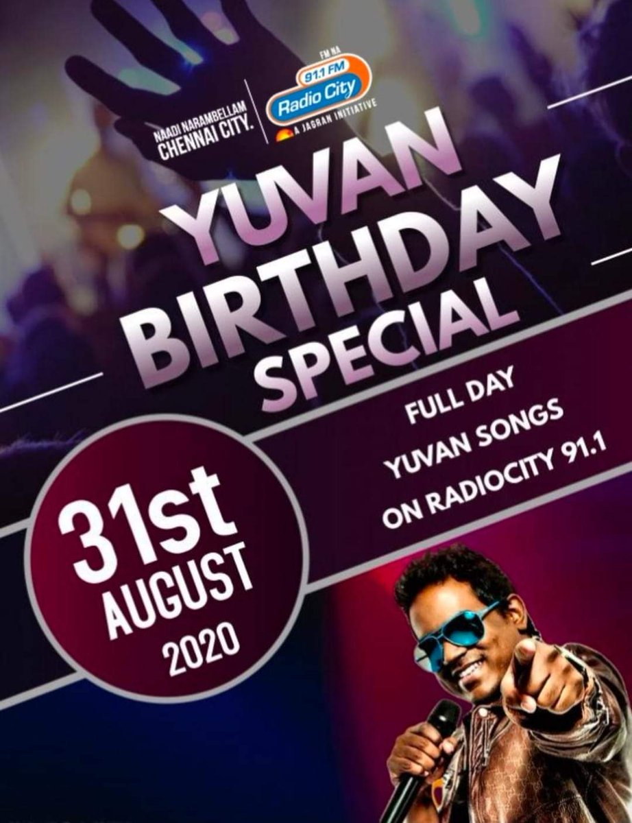 Yuvan Birthday Special 2020....  #Aug31 Full Day Yuvan Songs On RadioCity 91.1  Our Heartly Talented @thisisysr Anna Birthday 🎂  @planetradiocity   #YoungMaestro_U1 #LittleMaestro_YSR #RockStar #YouthIcon_U1  #LuckyStarU1 #Kalaimamani_U1 #BGM_KING #Yuvanism #டீம்யுவன் https://t.co/OX2QbmmpBF