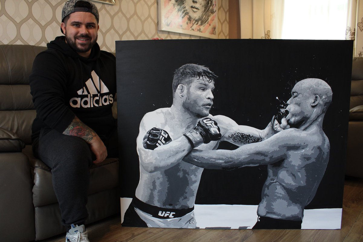 Hi mr @bisping 🤝 Here Is my new & complete look of my painting from #ufclondon  🏴󠁧󠁢󠁥󠁮󠁧󠁿 bisping vs silva 🇧🇷. Hope you like it mr bisping! 🤝 Hopefully i can give this to you when your back in england sometime soon 🏴󠁧󠁢󠁥󠁮󠁧󠁿👍🏻🔥  thanks mate! #ufc #ufcfighters #middleweight #mma #ufcfans https://t.co/g1b5QQZAGt