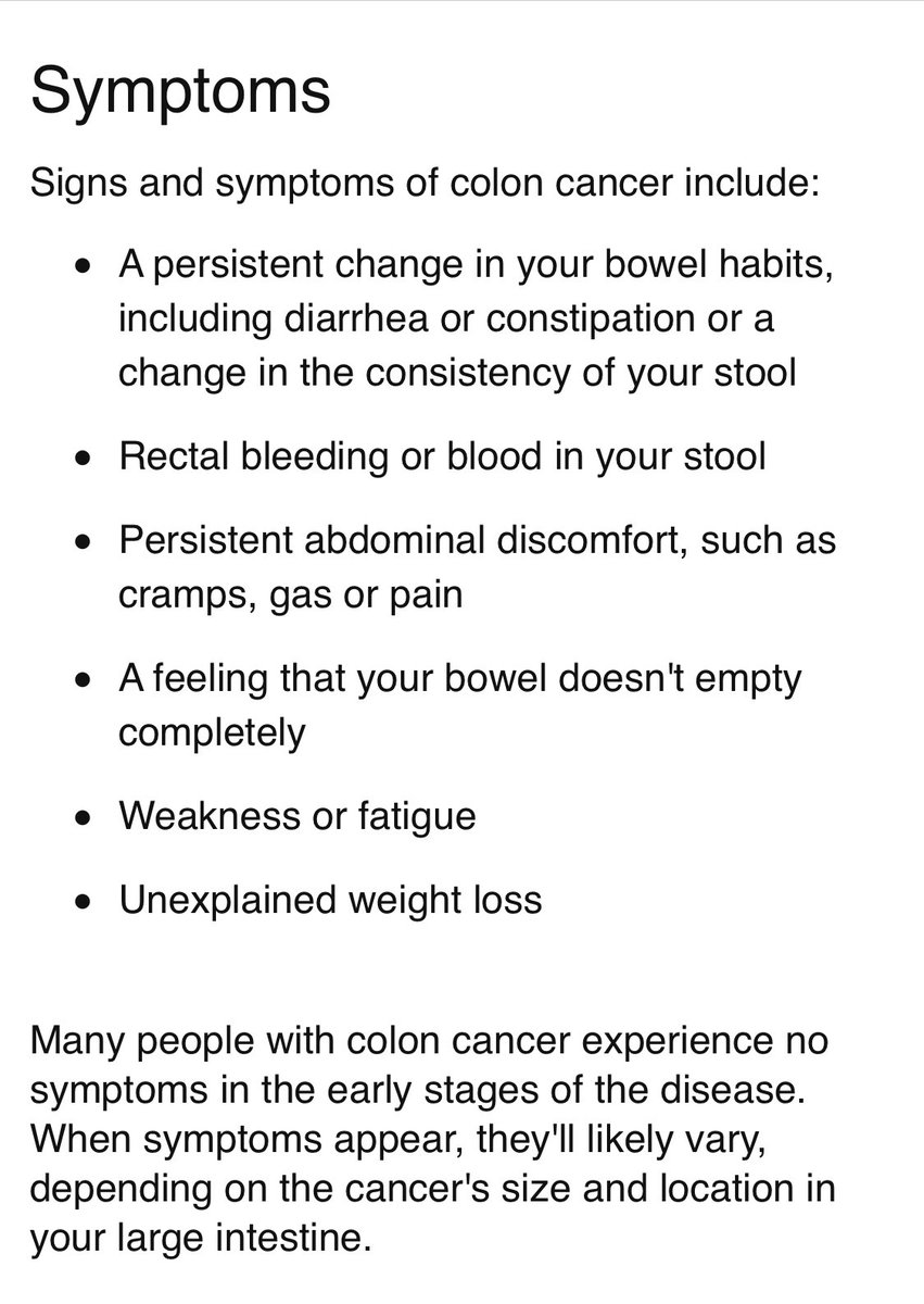 """Leah McElrath 🏳️🌈 on Twitter: """"The symptoms of colorectal cancers vary  depending on where in the colon the cancer is located. Any rectal bleeding,  blood in your stool (positive fecal occult screening),"""