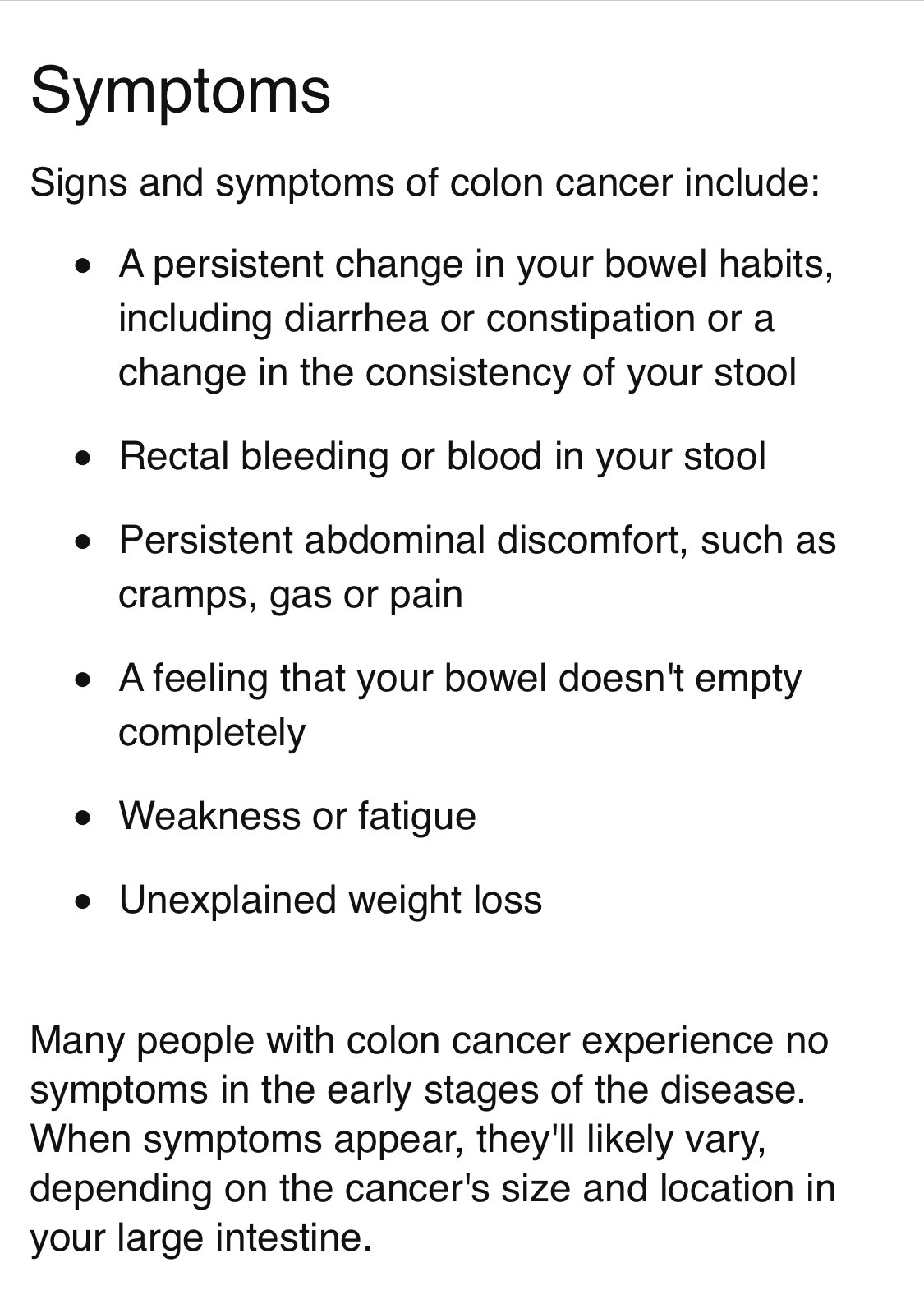 Leahhhhhh On Twitter The Symptoms Of Colorectal Cancers Vary Depending On Where In The Colon The Cancer Is Located Any Rectal Bleeding Blood In Your Stool Positive Fecal Occult Screening