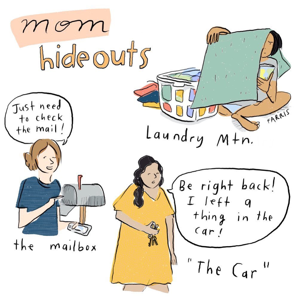 what are your hide outs 👀 😉 ☺️ #momlife ✨ #parenthood  🖼 by @coupdegracefarris  #motherhood #momhood #parenting #hideouts #laundry #mail #car #magneticmebaby https://t.co/lZOCJbPpEf