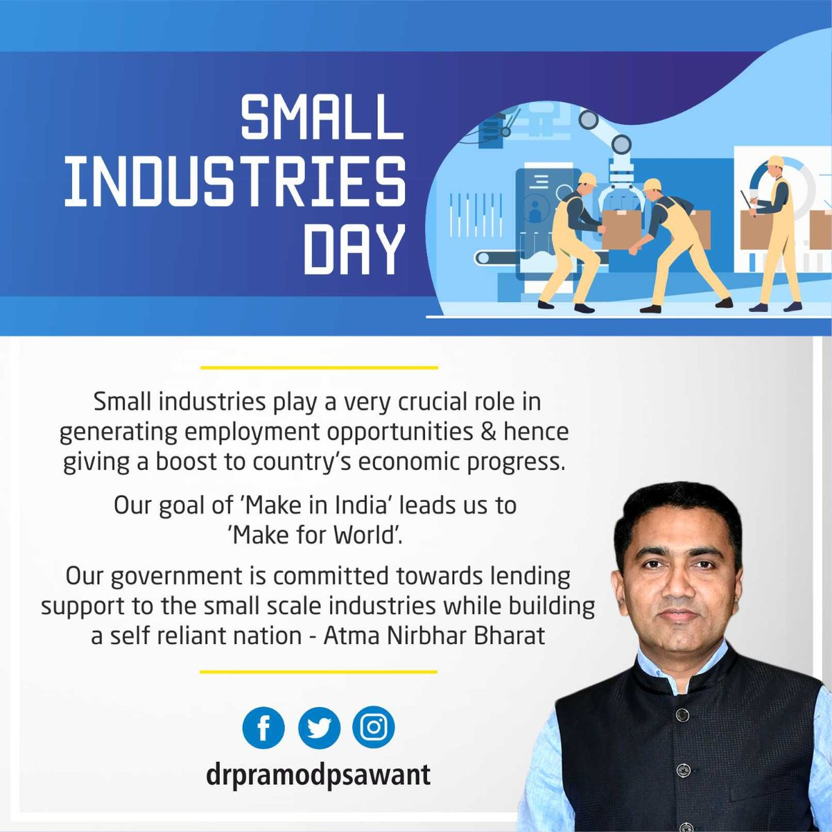 Small industries play a very crucial role in generating employment opportunities and hence giving a boost to country's economic progress.   Our goal of 'Make in India' leads us to 'Make for World'.  #SmallIndustryDay https://t.co/faHOJqxOis