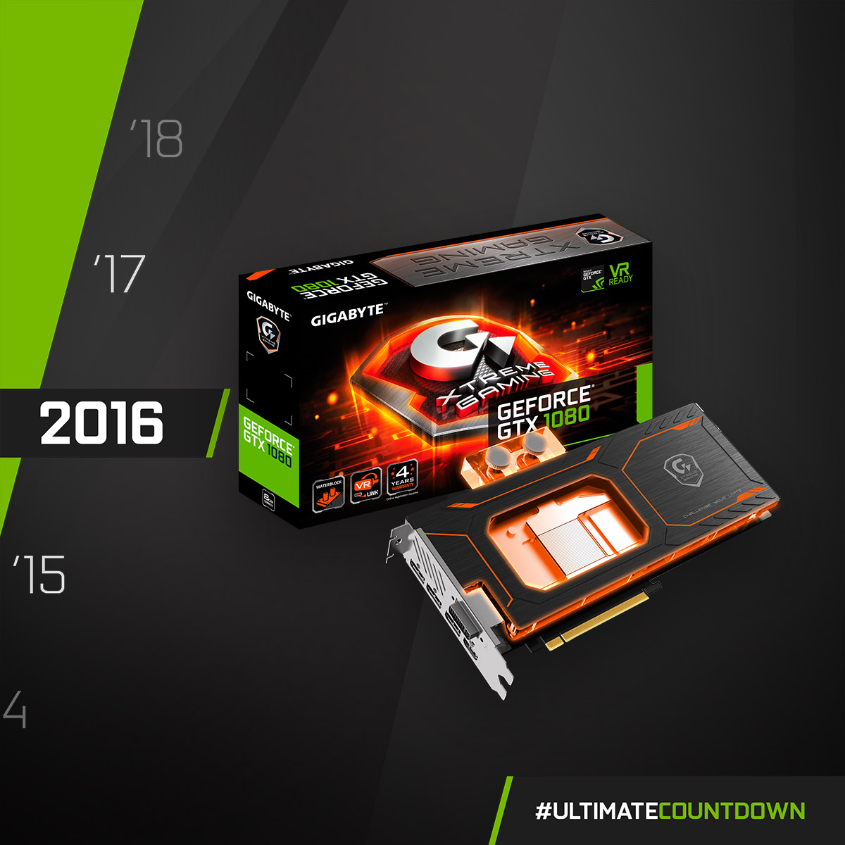 NVIDIA GeForce GTX 1080 - 2016  For custom water-cooled PC lovers! GIGABYTE pre-installed a high-performance full-cover water block for the GTX 1080!  #UltimateCountdown #UltimateAORUS #GIGABYTE https://t.co/8g0C82EFbQ