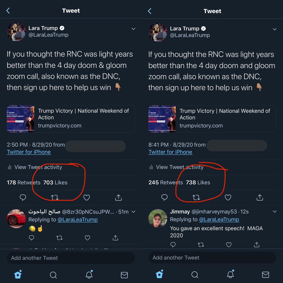 Want to know if they are silencing conservatives? The tweet on the left was up for 5 hrs, then I realized something was wrong. I deleted and reposted. 53 mins later, already more likes and retweets. They're worried about Nov 3rd. And they should be. #FourMoreYears 🇺🇸
