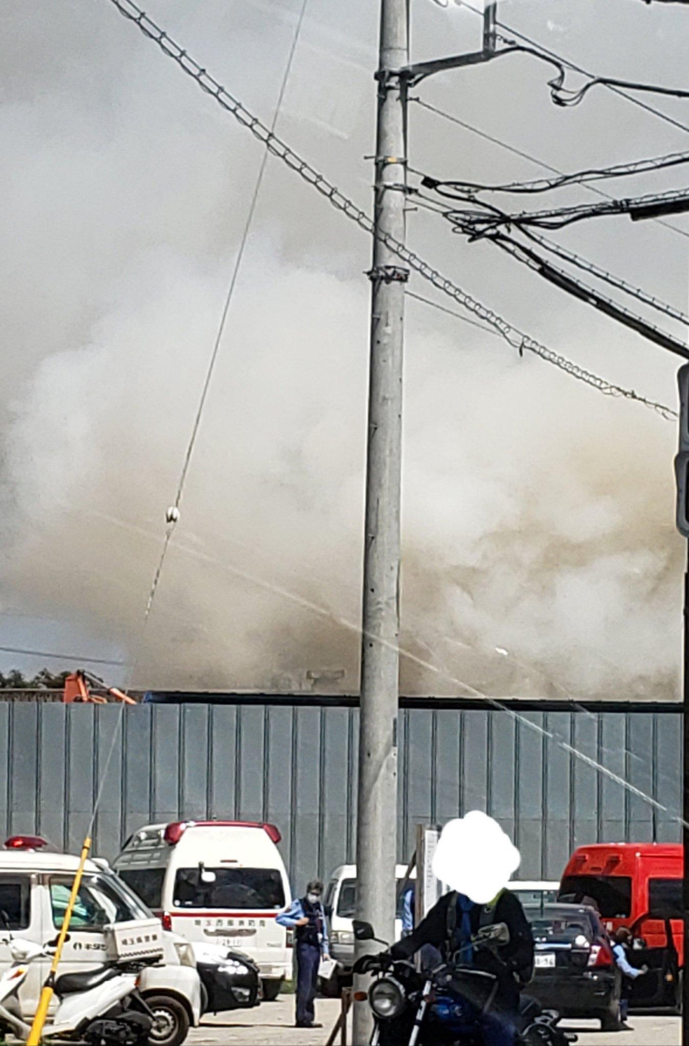 所沢市で火事が起きている現場の画像