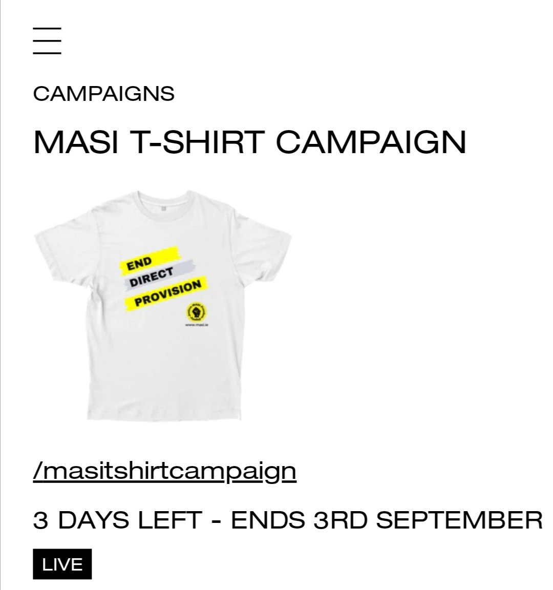 3 days left guys GO GO GO ❤️ @masi_asylum @eciycireland #EndDirectProvision it's tough sending your kids back to school in todays climate, but for children in Direct Provision, it's even tougher 😔 purchasing a t-shirt will support a child with everything they need ❤️ https://t.co/kROCu4j1ea