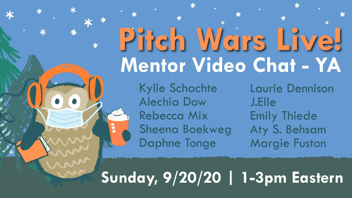 Todays #pitchwars mentor video chat features Young Adult mentors @KylieSchachte @alechiawrites @mixbecca @SheenaBoekweg @daphlt @lauriedennison @AuthorJ_Elle @ethiedee @ASBehsam @margie_fuston Tune in to #PWLive at 1pm Eastern: youtube.com/watch?v=q35Oa7…