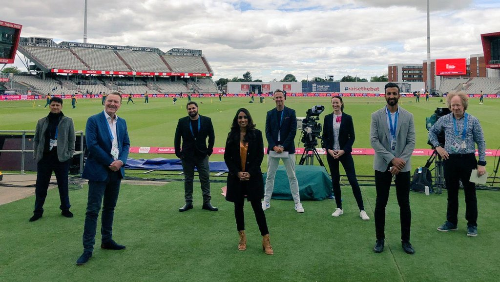 Here we go! Back after 21 years.   The @BBCSport TV on air team today.   @isaguha  @jimmy9  @philtufnell  @MichaelVaughan  @shani_official  @YasArafat12  @AatifNawaz  @AlisonMitchell  @ZaltzCricket   @bbcone NOW.   #bbccricket #ENGvPAK https://t.co/dqHDr89Uom