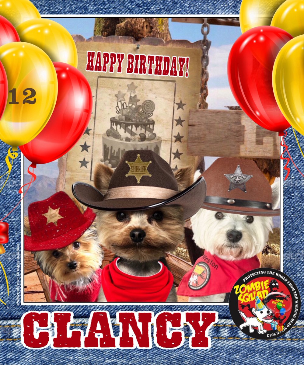 🎂Wishing a very 🎁HAPPY 12th BIRTHDAY🎉 to our pawsome pal, CLANCY from Leada Billy & your ZombieSquad pals. We hope your special day is full of tasty treats, belly rubs & cayke, soldyer. RaaAAA!! 💜🎂🎁🎈🎉 @spazzpuppywoof @ZombieSquadHQ #ZSHQ https://t.co/logQ0ZoV1M