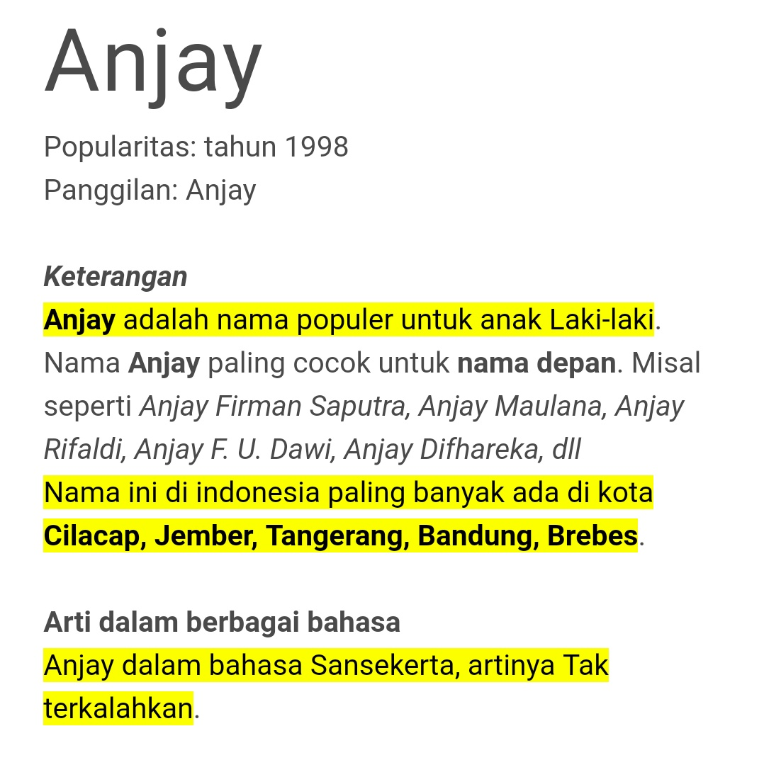What Does Anjay Mean In Indonesian