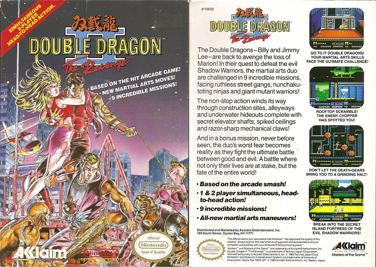 The Retro 80s On Twitter Today S Nes Video Game Double Dragon Ii The Revenge 1989 Na Developed By Technos Japan And Published By Acclaim 1 2 Https T Co 52jy22nt0z