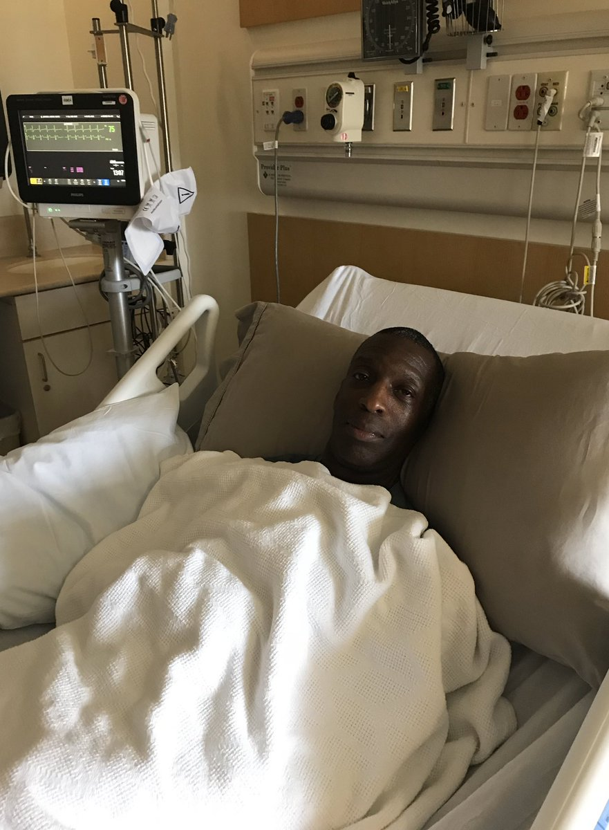 Two years ago today I found myself in the hospital having suffered a serious stroke. Unable to walk or stand. I was initially afraid and angry. In this picture I'm smiling because I knew I'd walk again due to the love and support of my wife, my family, friends, and fans. 🙏🏾 https://t.co/SjHLHAZDXZ