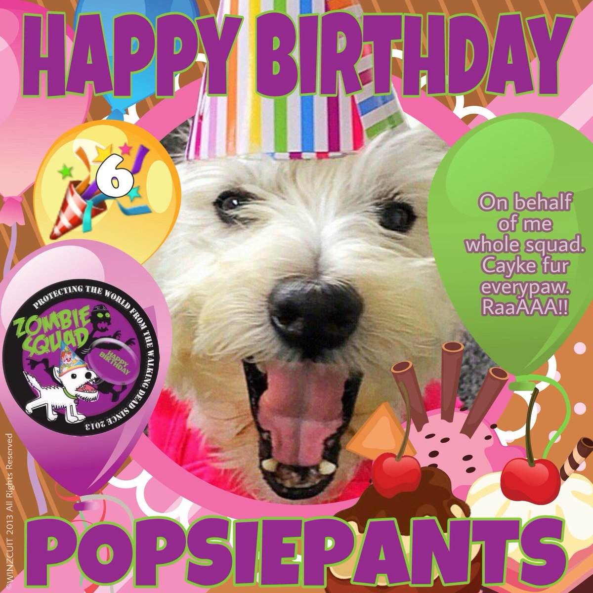 🎂Wishing a very 🎁HAPPY 6th BIRTHDAY🎉 to our pawsome pal, POPSIEPANTS from Leada Billy & your ZombieSquad pals. We hope your special day is full of tasty treats, belly rubs & cayke, soldyer. RaaAAA!! 💜🎂🎁🎈🎉 @popsiepants @ZombieSquadHQ #ZSHQ https://t.co/xfuKGH8sKg