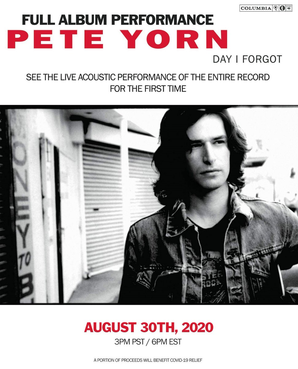 """For the first time ever, @peteyorn is performing an acoustic set of his acclaimed sophomore album """"Day I Forgot"""". 🎸🎶  ℹ️ 3pm PT/ 6pm ET / 5pm CT 🌐 https://t.co/WcQ85R9Qsd  #PeteYorn #dayiforgot https://t.co/TwrAv23kft"""