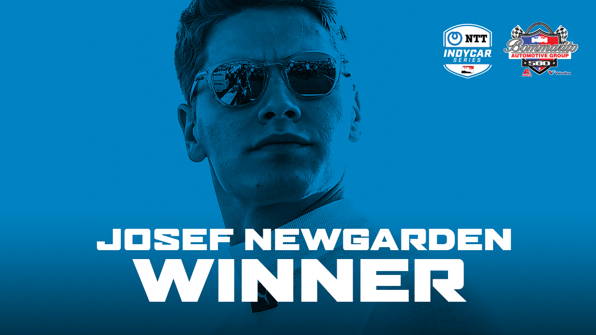 .@josefnewgarden takes the checkered flag for Race 2 of the #Bommarito500 doubleheader weekend at @WWTRaceway.   #INDYCAR // @Team_Penske https://t.co/JeTM2LGbUp