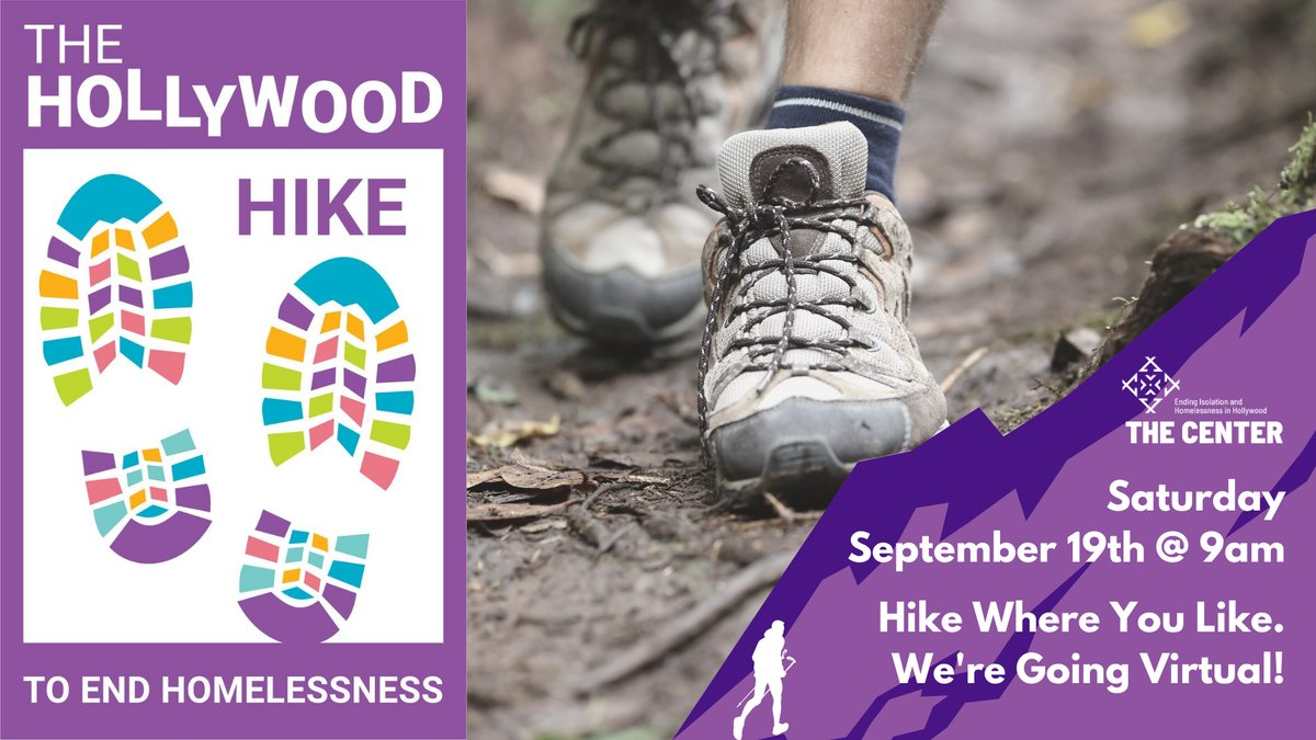 Sept. 19th: Hike Where You Like! Join us for our VIRTUAL Hollywood Hike to End Homelessness hosted by Tony Hale! Get a behind-the-scenes look at The Center while you warm up for your hike. buff.ly/2GtZOoe #Hike #Walk #DoGood #VirtualEvents #VirtualFundraiser #Hollywood