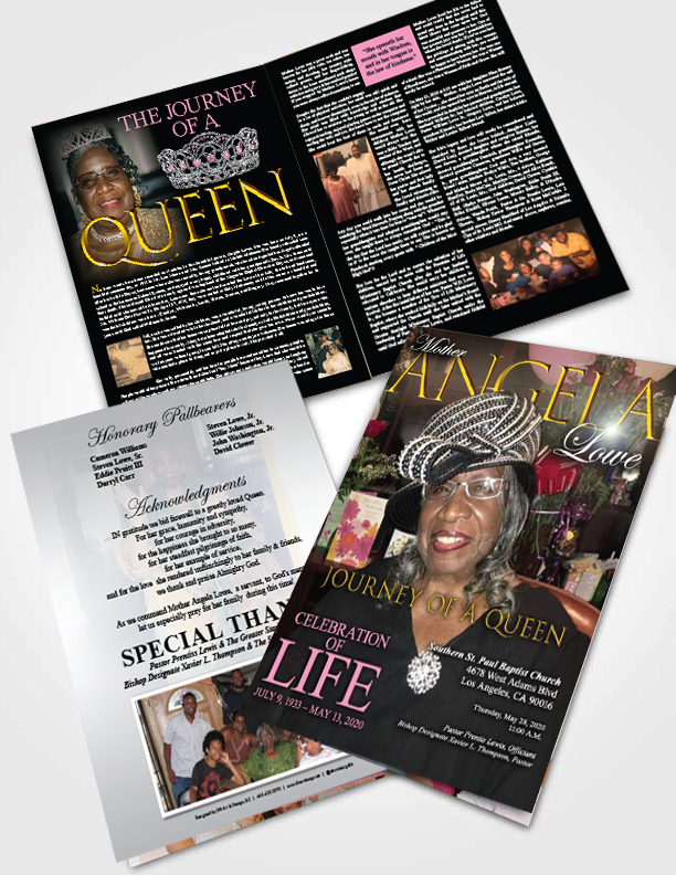 #Obituary #Design #booklet for #Mother #Lowe out in LA!  My friend at #client Miss Nina Lowe has had a very tough year with some tough loses / #transitions.  #may2020  #griefawarenessday #mother #mothersdayblues  See Full Layout Here:   https://t.co/uzSnkiTZpi https://t.co/SitZdeeRln