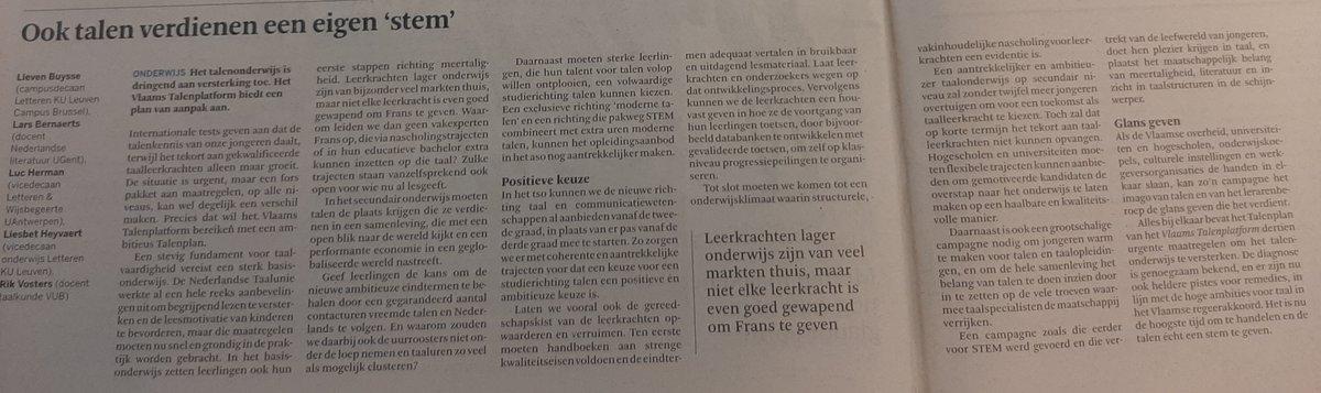 Ook talen verdienen een eigen 'stem'! Het talenonderwijs in VL is dringend aan versterking toe. Het Vlaams Talenplatform biedt een plan v aanpak aan. Lees er meer over in onze opinie in De Standaard https://t.co/JzpLIWPXCp @KU_Leuven @ugent @VUBrussel @UAntwerpen #onderwijs https://t.co/3G3D65JgKU