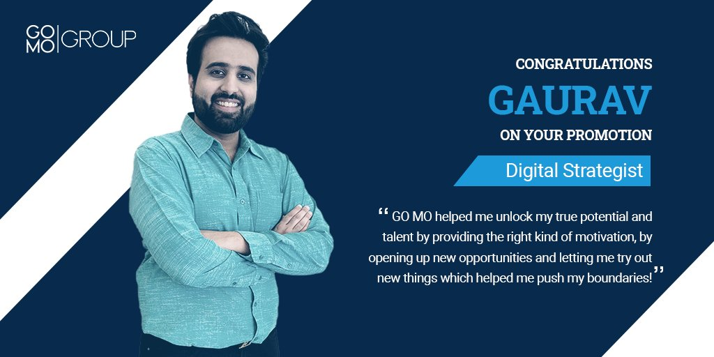 Gaurav Bulani kickstarted his digital marketing journey with GO MO as an SEO Analyst in 2017. Since then, his career has grown leaps & bounds; here he is today two promotions later, a Digital Strategist. Gaurav is proof that great things come to those who hustle!   #PROMOTION https://t.co/km1jJZIkn2