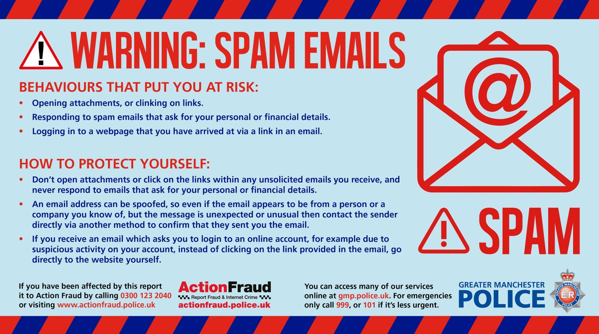 Greater Manchester Police On Twitter Scamalert Cyber Criminals Use Fake Messages To Lure You Into Clicking On Links In Scam Emails Text Messages Or Reveal Sensitive Information Such As Bank