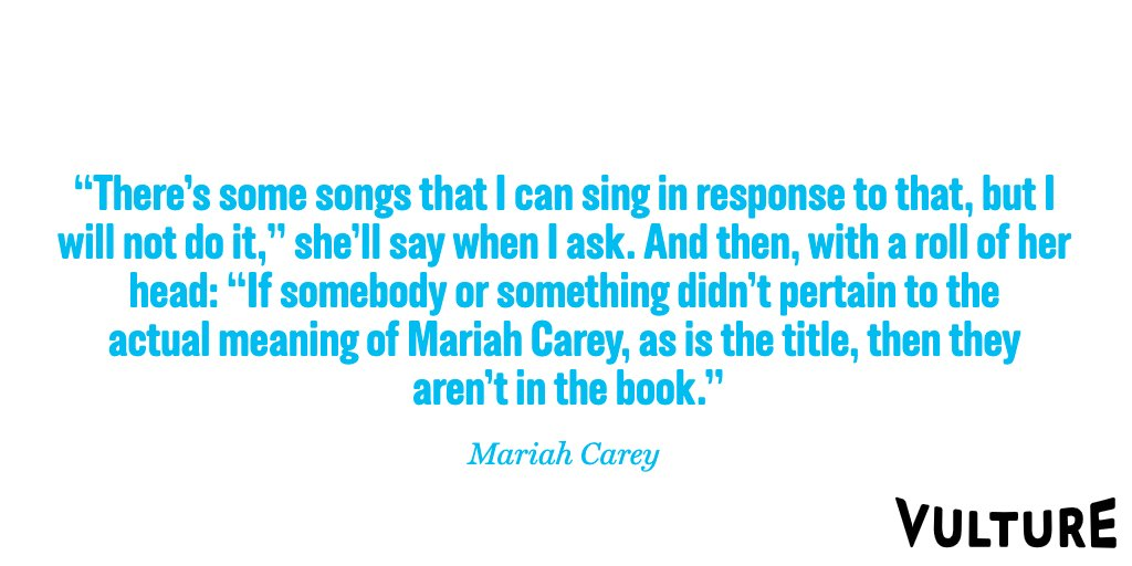 "Mariah Carey on not including Eminem — who was reportedly ""stressed"" over what Carey might say about their rumored 2001 fling — in her memoir:"