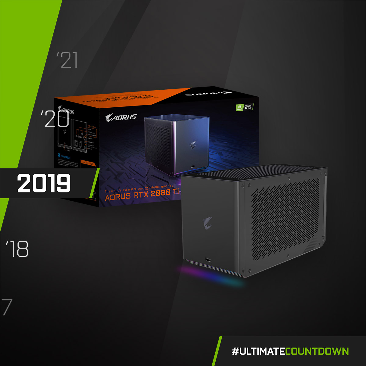 New Era! The world's first all-in-one water cooling external graphics card - AORUS RTX 2080 Ti GAMING BOX 💪  #UltimateCountdown #UltimateAORUS #GIGABYTE https://t.co/8vuoXRqSid