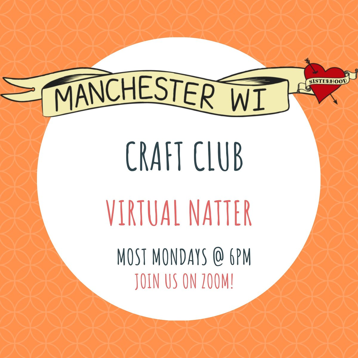 Happy long weekend! (/long year 😅) It may be a Bank Holiday but craft club will still be having their usual Monday craft and natter this evening. Register here manchesterwi.org.uk/events-1/craft… and bring your latest craft project along!