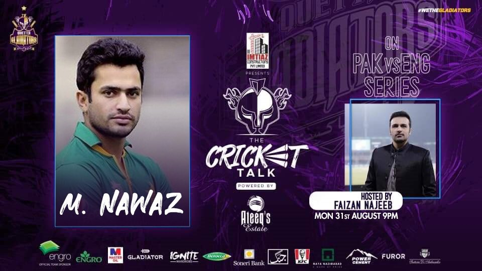 🇵🇰🆚🏴  #PurpleForce! Gladiators' all-rounder @mnawaz94 will be joining us at #TheCricketTalk !!  ⌚️ 9️⃣ pm Tonight  💭🏏 Share your thoughts and questions on Pakistan's performance in the second T20I as @najeebfaizan discusses them!  #WeTheGladiators https://t.co/JHveAO3bNo