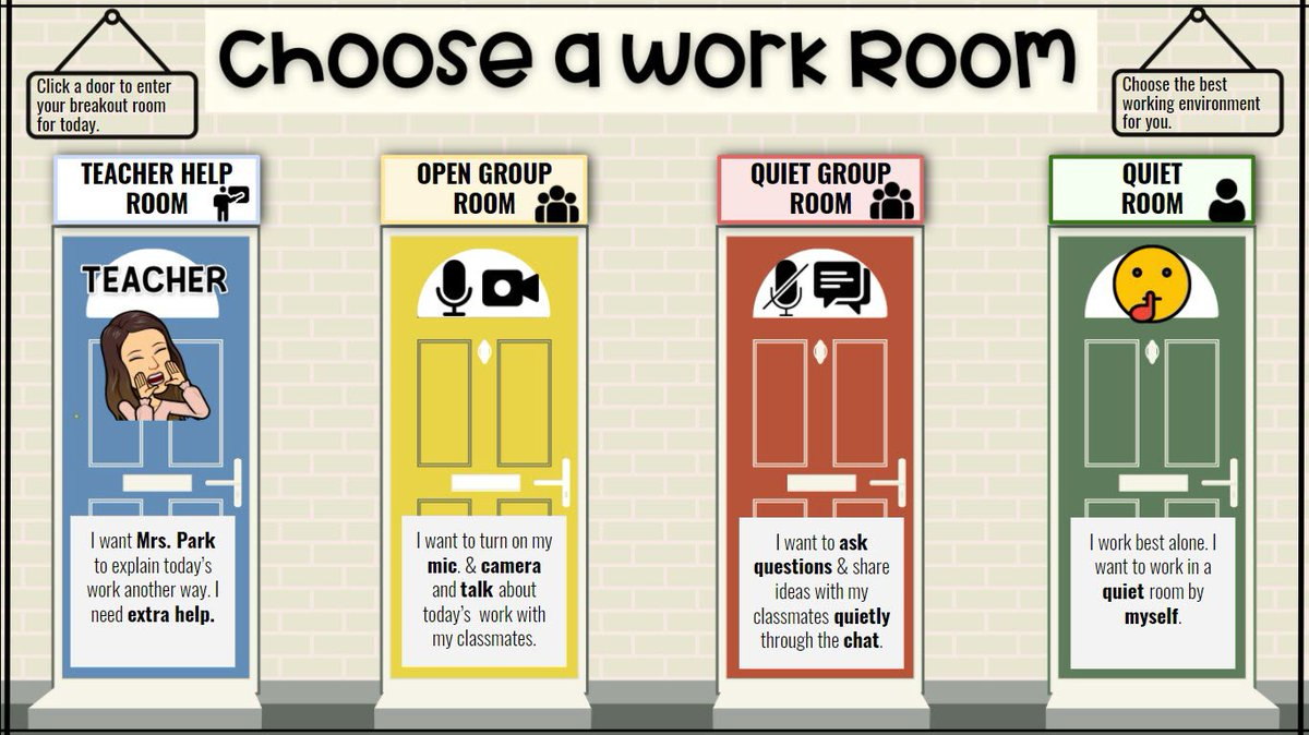 """I made breakout room choice doors where Ss will """"go"""" to during their work time. We're using Google Meet & I plan to link different Meet links to each 🚪so Ss can collaborate, work alone, or get extra help. Honoring differences & personalizing instruction!   Feel free to use⬇️ https://t.co/NJI8iM8QxX"""
