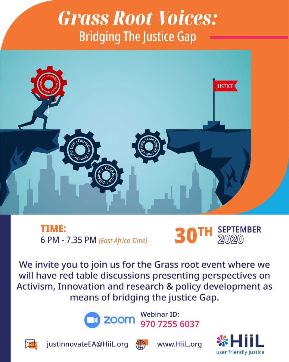 We invite you to join us for a zoom event whose theme will be Grass-Root Voices: Bridging the Justice Gap  We will have insightful conversations on how to bridge the Justice Gap in East Africa & listen to pitches from the shortlisted candidates of the Innovating Justice Challenge https://t.co/ADztN5O4dp