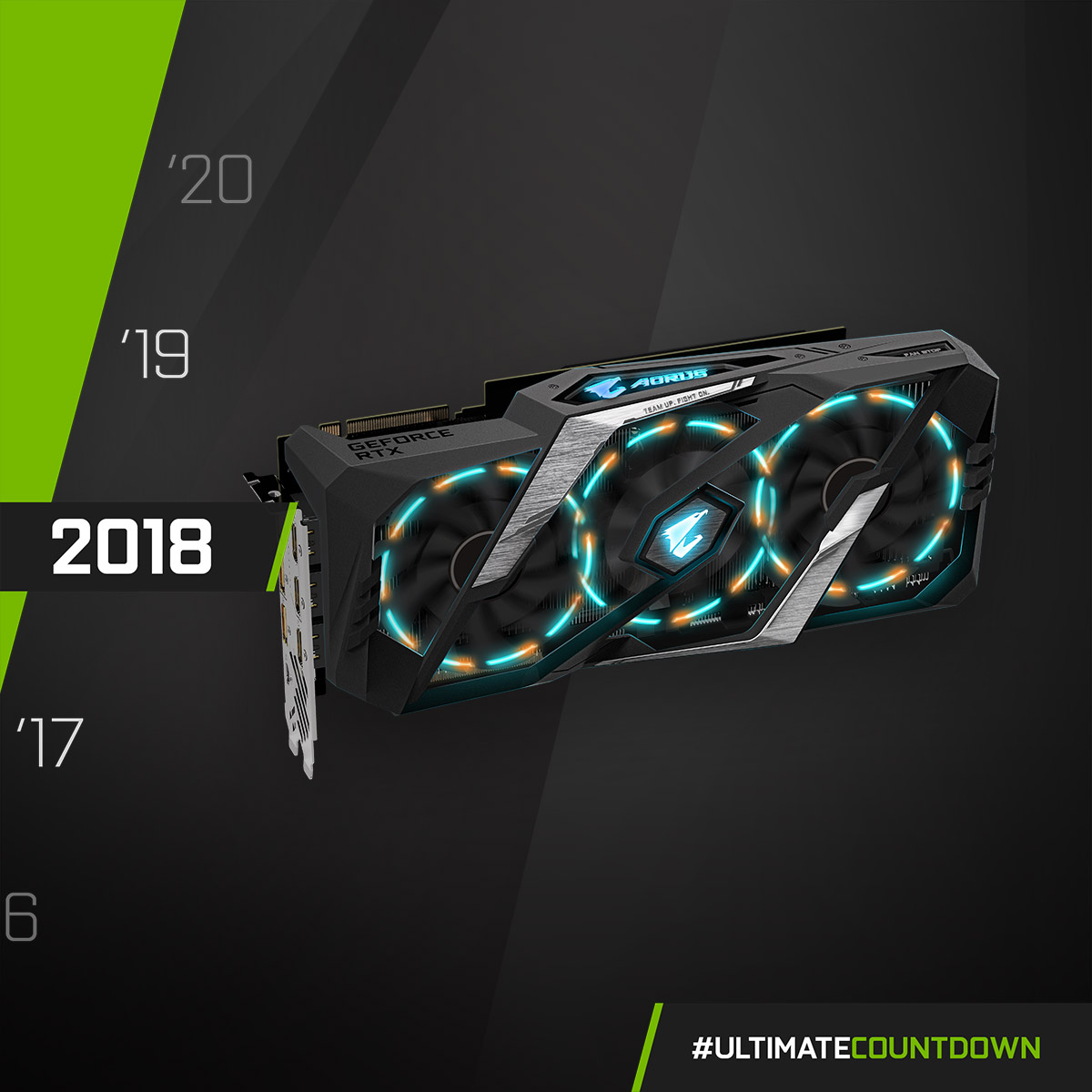 NVIDIA GeForce RTX 2080 Ti - 2018  Can't take my eyes off you! The beauty of the RGB rings on AORUS GeForce RTX 20 series graphics cards 😍 ❤️💚💙  #UltimateCountdown #UltimateAORUS #GIGABYTE https://t.co/DafGqiyxDG