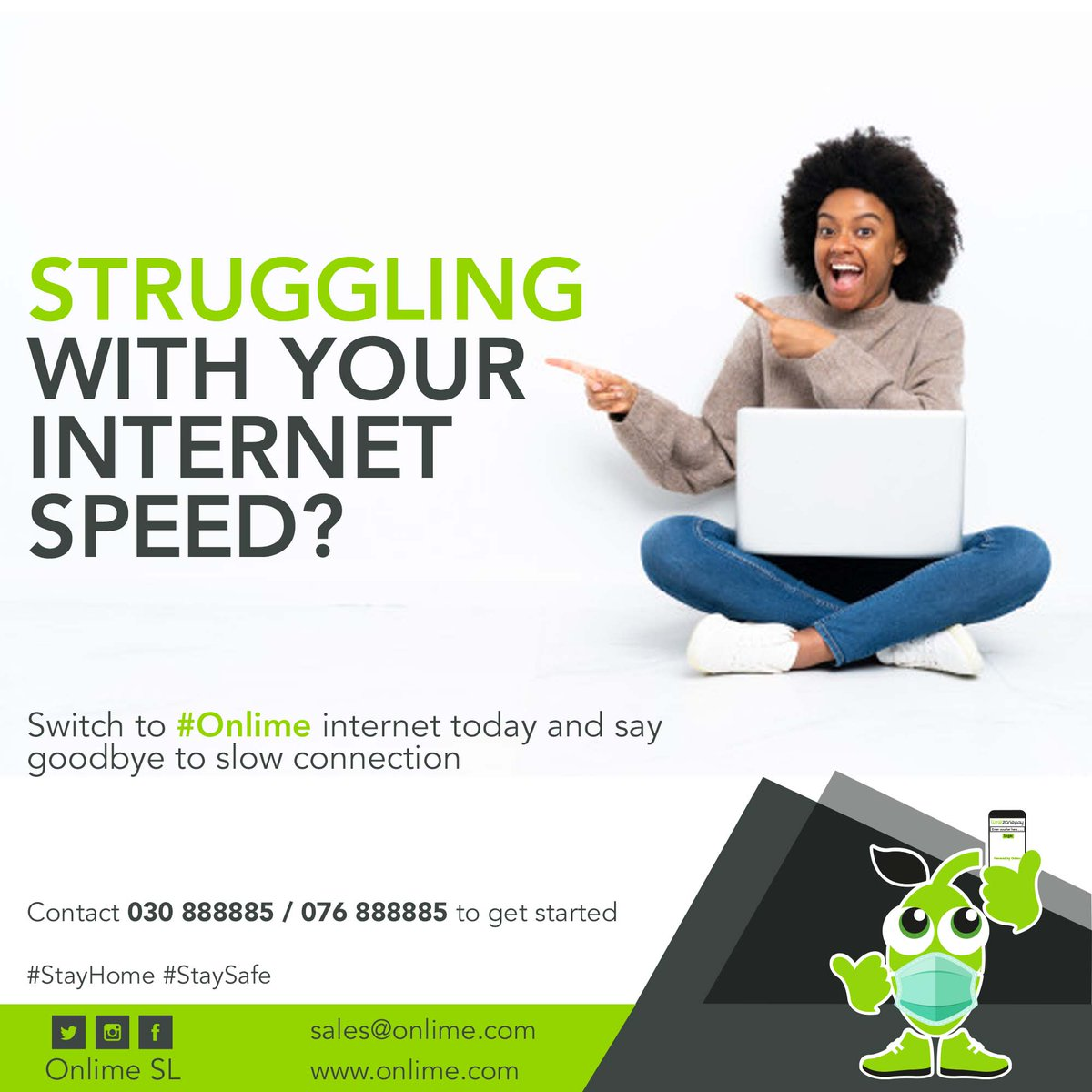 Switch to #OnlimeInternet and say goodbye to slow connection.  Call 076 888885 / 030 888885 or email sales@onlime.sl to get started. #SaloneTwitter #SierraLeone #Freetown #StayHome #StaySafe https://t.co/BFaKgiS5WO