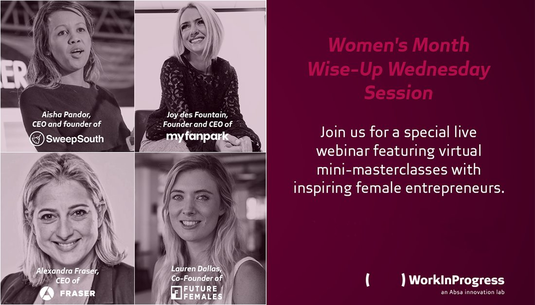 Take a look back at our Women's Month Wise-Up Wednesday Session and take note of some of the incredible insights offered by the #femaleentrepreneurs leading @SweepSouthSA, @Fraser_ZA @Future_Females and @myfanpark. Watch it here: https://t.co/BjGNSSY7N8 https://t.co/7urqHVlPzl