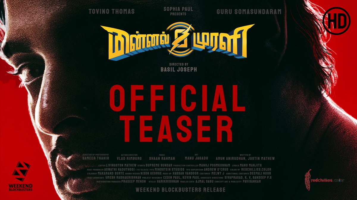I am so excited to present the Tamil teaser of #MinnalMurali!   Can't wait for this superhero film🔥   All the best @ttovino & team! 😊🙌  @sofiathomas @shaanrahman @iBasil @cedinp @greatkevu @bijuantony  https://t.co/BnkcfSDD5C https://t.co/LFIEUt947u