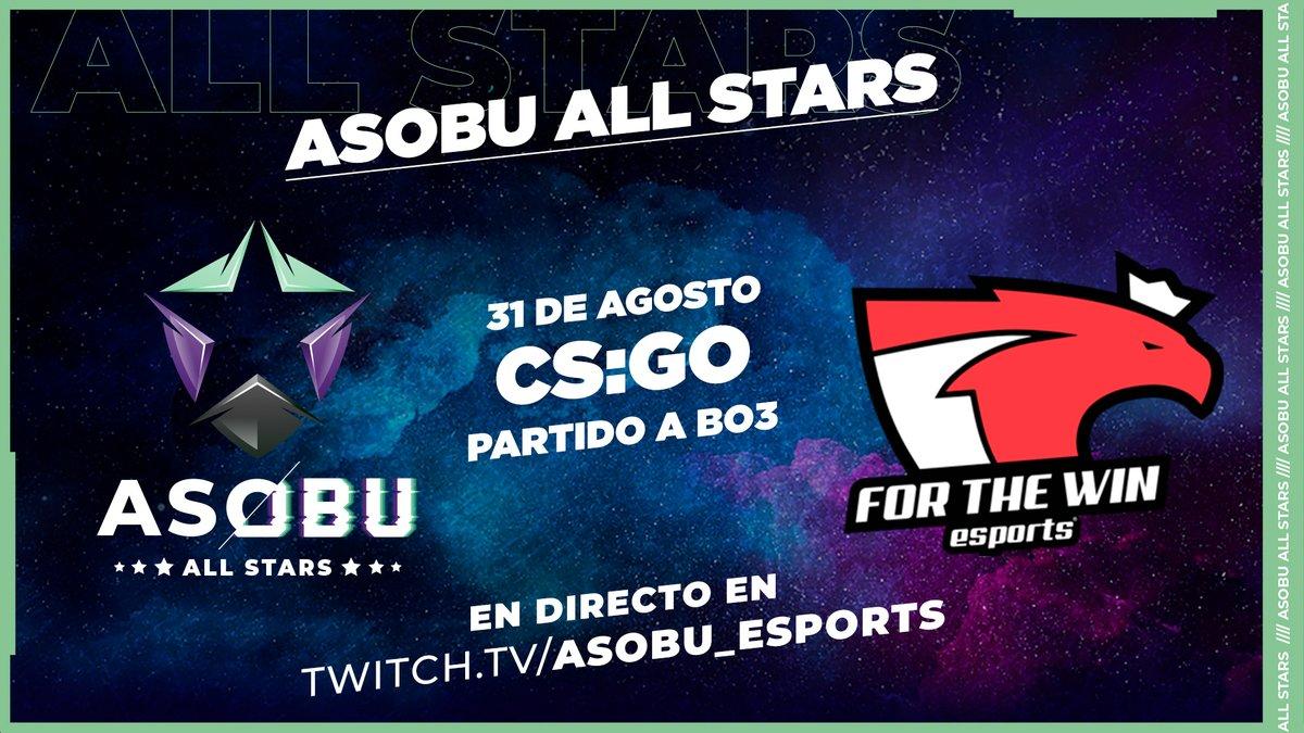 ⭐ #ASOBUAllStars   Hoy tenemos el ASOBU ALL STARS de #CSGO que enfrentará a un combinado de @asobu_esports y un gran equipo internacional!  🖱️ #CSGO  ⭐ Asobu All Stars 🆚 @ftwesports   En directo a las 18.00 h en https://t.co/hfx4G35Cjw  #ASOBUAllStars https://t.co/7VFO9mk0El