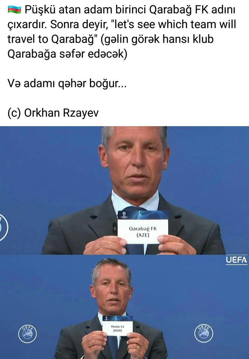 Dear, @Molde_FK  @FKQarabagh representing #Karabakh cannot play matches at own stadium.Because the stadium-#Imaret and all of Karabakh were occupied by #Armenian & Russian troops! #JusticeForAzerbaijan #JusticeForRefugees #KarabakhisAzerbaijan  #FKQarabağ #UCLdraw #Azerbaijan https://t.co/UQSqnE078P