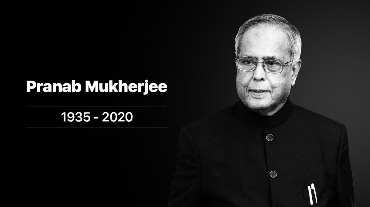 #rip #PranabMukherjee sir ! He was widely respected across parties for his intellect , it's a huge loss to our nation ! https://t.co/9V01nGlq18