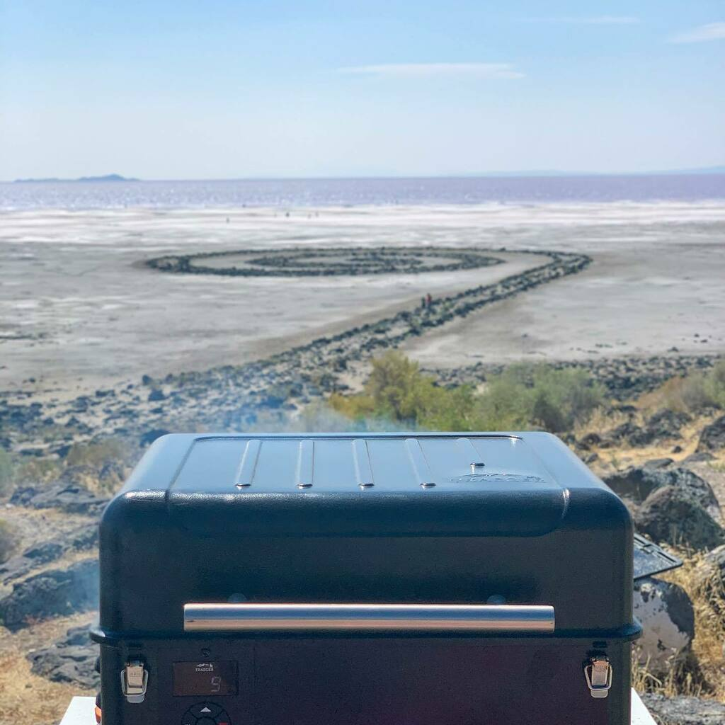 The Spiral Jetty was made in 1970 on the North Eastern end of the Great Salt Lake about 16 miles past Promontory point!  . . #smokeaddictionbbq #traeger #tragergrills #traegernation #traegerhood #traegeron #greatsaltlake #boxeldercounty #getoutside https://t.co/vNyLc2DOu6 https://t.co/HliBjcYKBT
